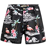 SSLR Women's Flamingos High Waist Casual Hawaiian Shorts (28, Black)