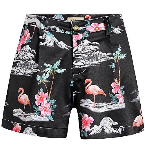 Hawaiian Print Shorts (SSLR Women's Flamingos Flat High Waist Casual Hawaiian Beach Shorts (27, Black))