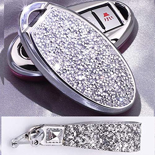 Royalfox(TM) 3 4 5 6 Buttons 3D Bling keyless Entry Remote Smart Key Fob case Cover for Nissan Murano Pathfinder Titan Maxima Sylphy Lannia Livina NV200 Tiida Teana Qashqai Sunny (Silver)