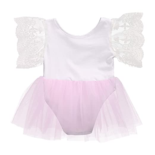 5309780d8197 Newborn Kids Baby Girls Princess Ballet Romper Tutu Dress Skirt Lace Floral  Outfits (0-