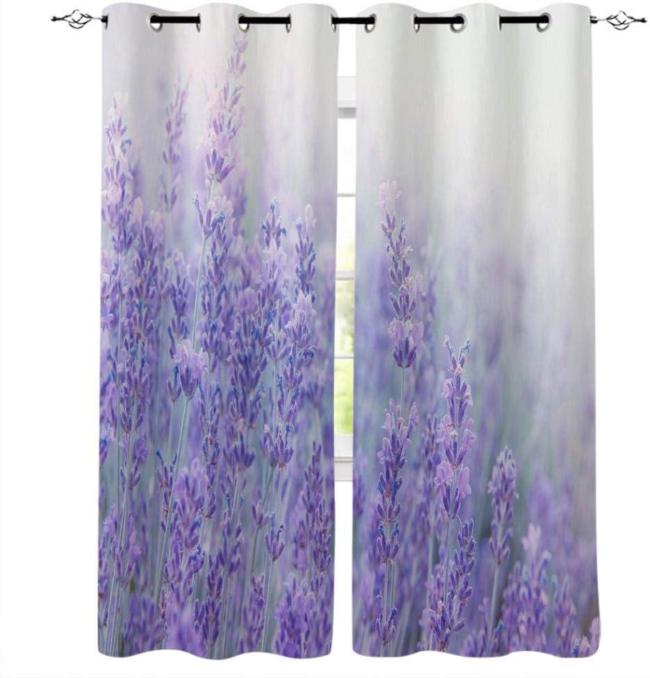 zpangg Verdunkelungsvorhang Fantasie Blume Lavendel Pflanze Lila /Ösen Mustern Blickdichte Kurze Gardinen F/ür Kinderzimmer Fenster 2Er Set Je 150/×166Cm