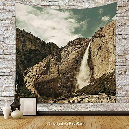Polyester Tapestry Wall Waterfalls in Yosemite National Park