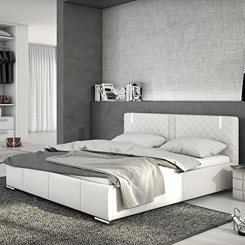 Innocent Polsterbett aus Kunstleder weiß 180x200cm mit LED und Lautsprecher Effra Boxspringbett