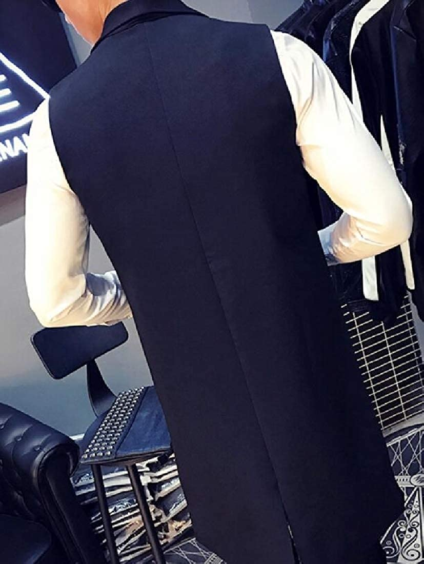 DFBB Men Sleeveless Longline Lapel Collar Single Button Stripe Club Vest