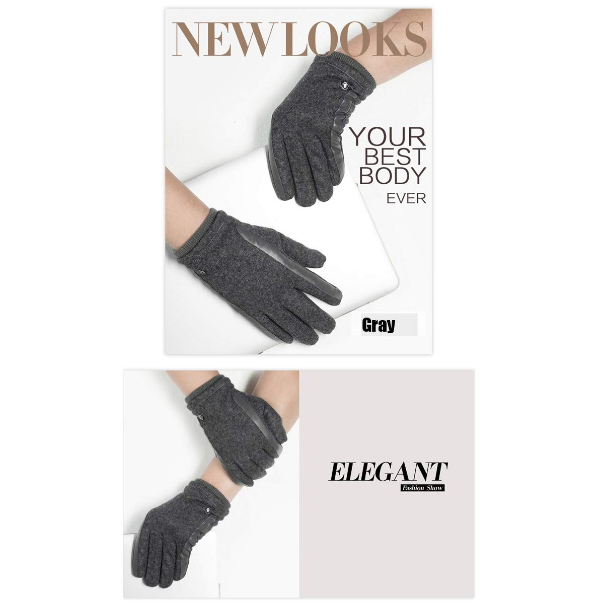 Warm Wool Black//Brown//Gray Haoyushangmao Mens Winter Gloves Good Cold Resistance