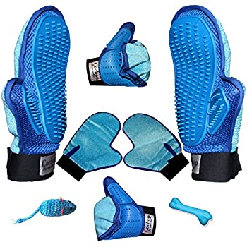 Both Hand Pair Pet Hair Remover Grooming Glove Brush + 2 Toys - For De Shedding - Patting - Brushing - Pet Groomer For Long & Short Hair - Furniture Hair Remover Tool - Fur Remover (Hands-On)