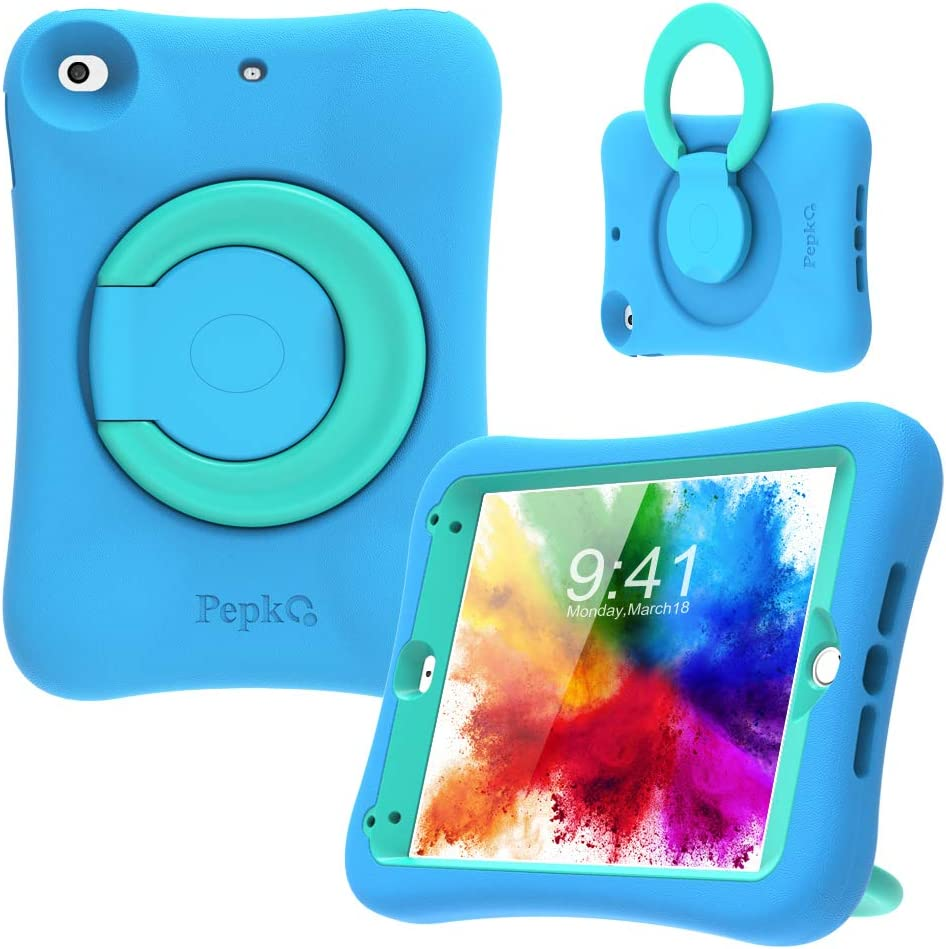 PEPKOO Kids Case for iPad Mini 5 4 – Lightweight Flexible Shockproof, Folding Handle Stand, Full Body Rugged Boys Girls Cover for Apple iPad Mini 5th Generation 4th Gen 7.9 inch, Blue Mint