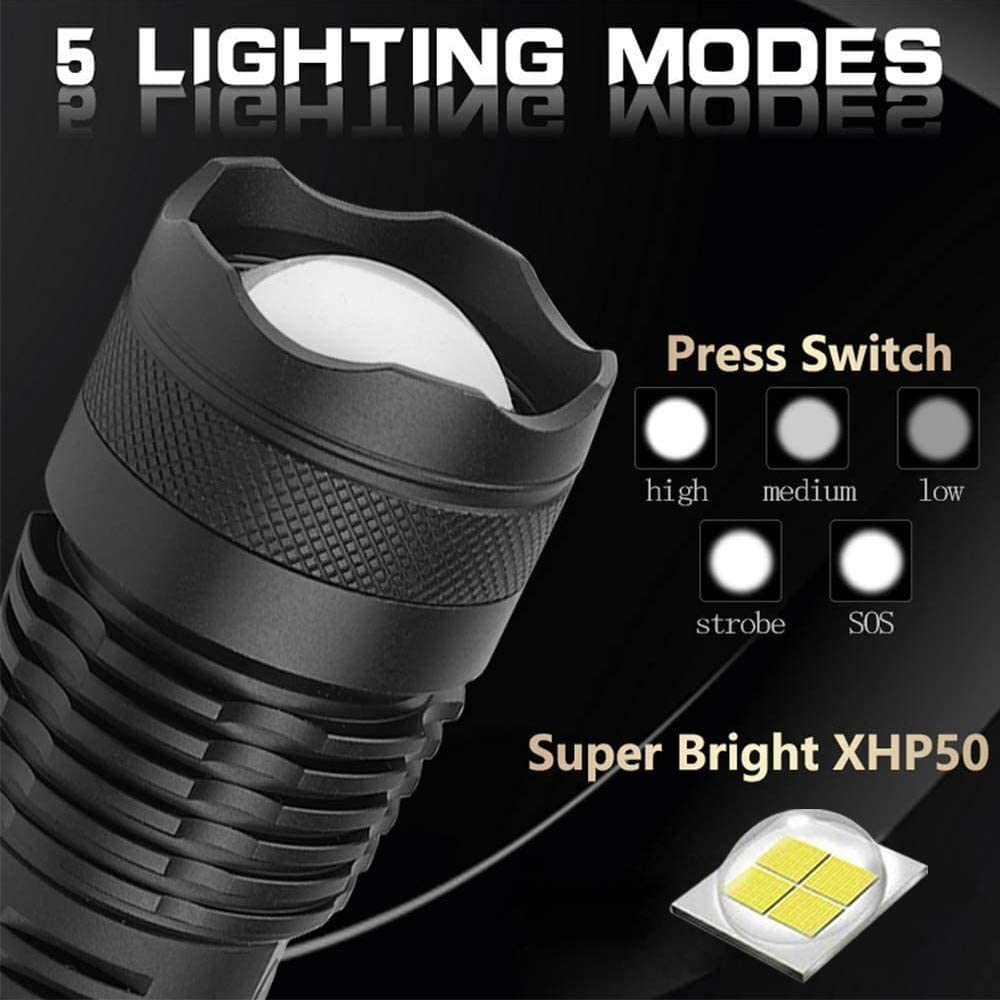 5 Modes Zoomable Tactical Flashlights with Power Indicator for Outdoor Emergency Lighting LED Flashlights Rechargeable High Lumens XHP50 Flashlight Battery Included 5000 Lumens