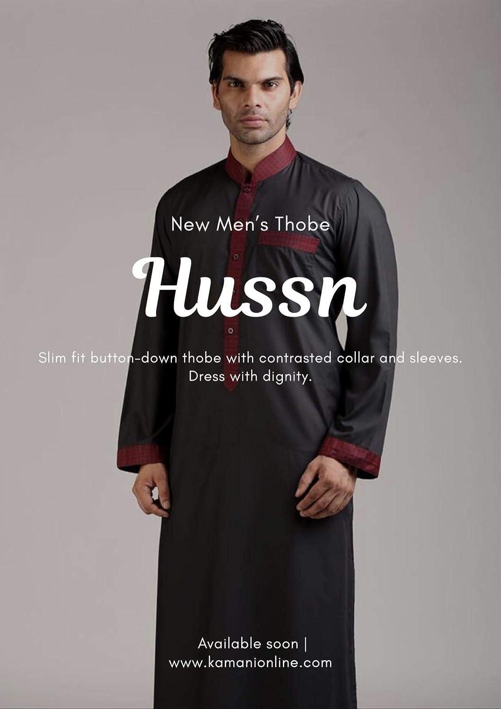 a72a6489 Amazon.com: Hussn Mens Thobe/Kaftan Kamani-Islamic Clothing Jubba for Men-Muslim  Thobes: Clothing
