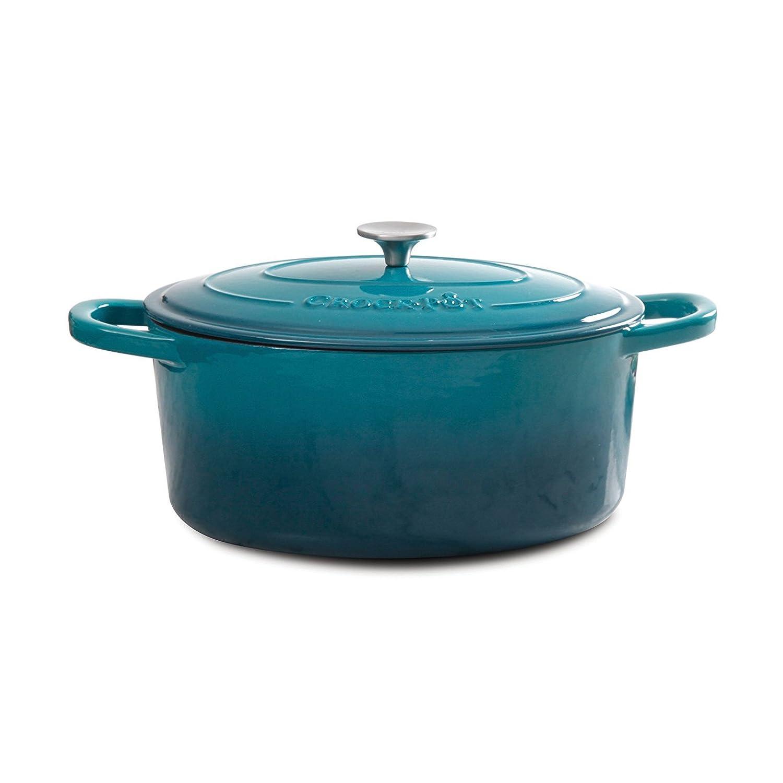 Crock Pot 109470.02 Artisan Enameled Cast Iron 5-Quart Round Dutch Oven, Teal Ombre