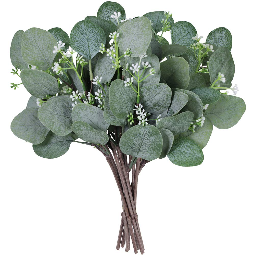 "Supla 10 Pcs Artificial Seeded Eucalyptus Leaves Stems Bulk Artificial Silver Dollar Eucalyptus Leaves Plant in Grey Green 11.8"" Tall Artificial Greenery Holiday Greens Wedding Greenery"