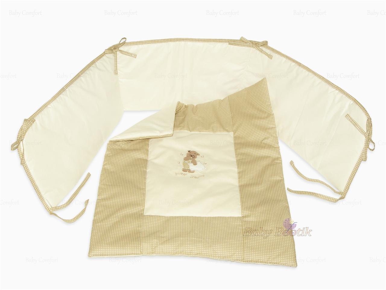 Cuna Bumper & Colcha –  2 pcs bordado Juego de ropa de cama, para adaptarse a para cuna (90 x 40 cm beige Colour Beige para adaptarse a para cuna (90x 40cm beige Colour Beige BabyComfort
