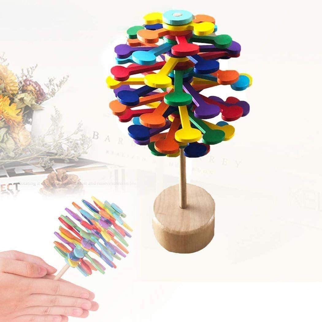 FANPING Rotating Lollipopter Toy Stress Relief Wooden Toys for Chldren and Adults Home and Office Decor Colorful Leaves Color : Rainbow