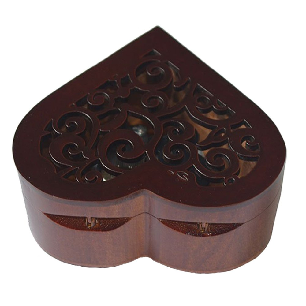 Antique Engraved Wooden Wind-Up Musical Box,You Are My Sunshine Musical Box,with Silver-plating Movement in,Heart-shaped by FnLy (Image #5)