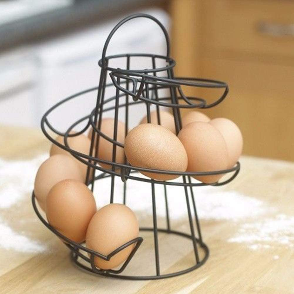 salvaspazio portauova portauova da cucina Nero porta uova SFeng Portauova moderno portauova a spirale