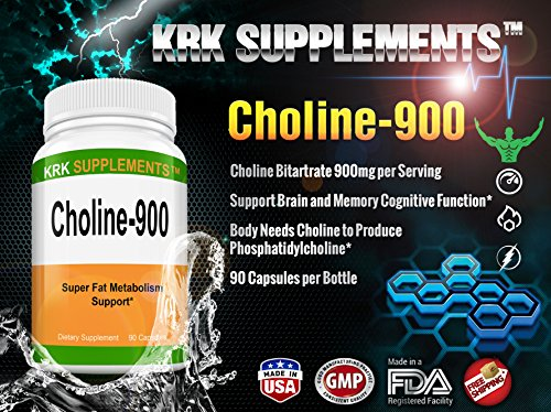 Choline Bitartrate 900mg per serving 90 capsules KRK SUPPLEMENTS
