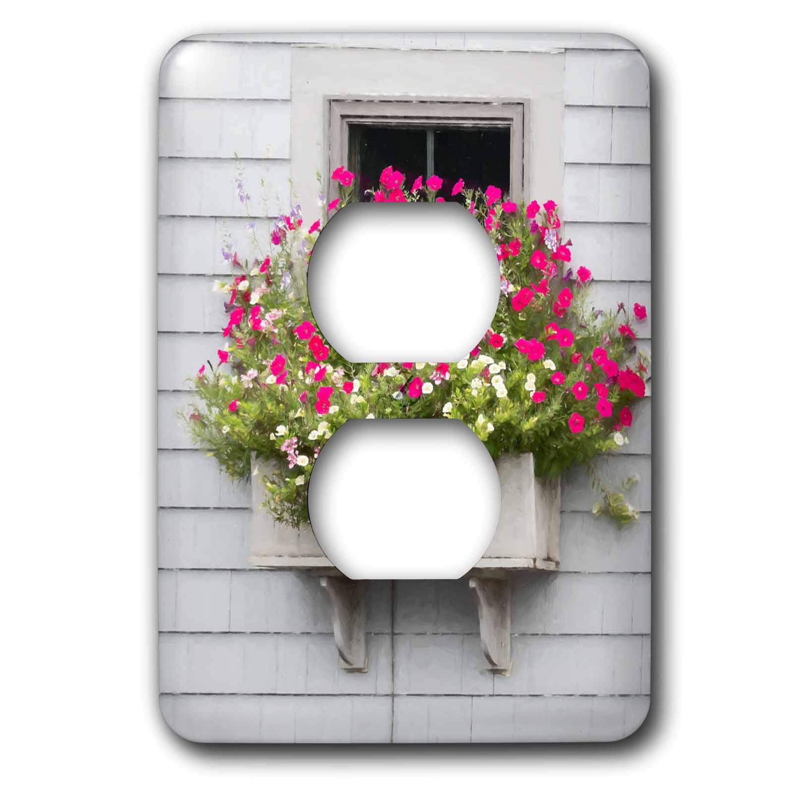 3dRose Roni Chastain Photography - Pink fowers by the window - Light Switch Covers - 2 plug outlet cover (lsp_295334_6)