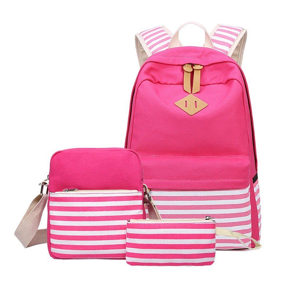 Amazon.com: Casual lona mochila de rayas Cute Teen Mochilas ...