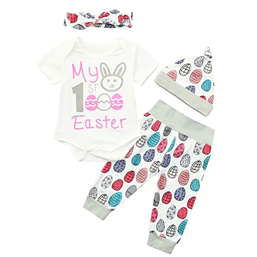 10dd0e98a9b74 Amazon.com: Newborn Infant Baby Boy Girl My 1st Easter Egg Bunny Outfits  Print 4Pcs Romper+Pants+Hat+Headband Sets: Clothing