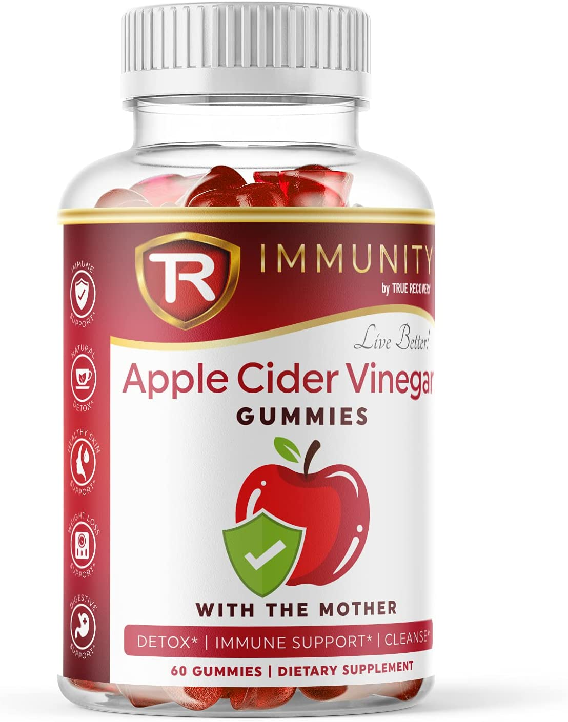 True Recovery Apple Cider Vinegar Gummies with Mother & Iodine | for Detox Cleanse, Weight Loss, Immune Support, Digestive Support | Vitamin B12, Beetroot | 60 Count Elderberry Gummies