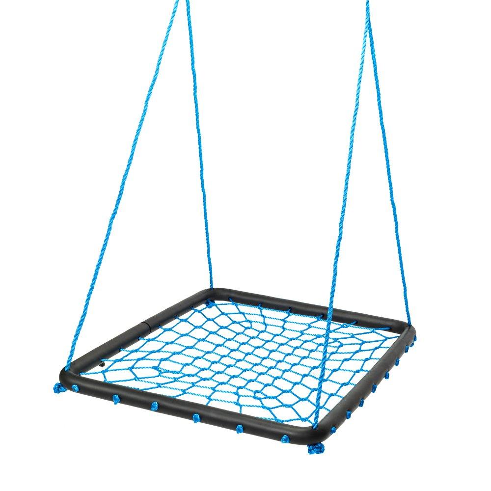 JOYMOR 40 X 30 Kids Spider Web Platform Net Swing with Adjustable Tree Rope,Great for Tree, Swing Set, Backyard, Playground, Playroom(Blue)