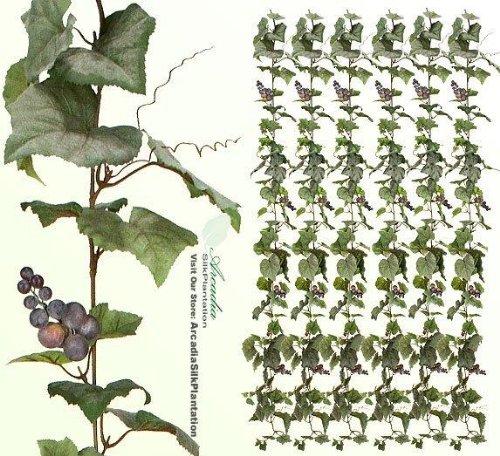 Arcadia Silk Plantation Six 6' Artificial Grape Garlands with Grape Clusters