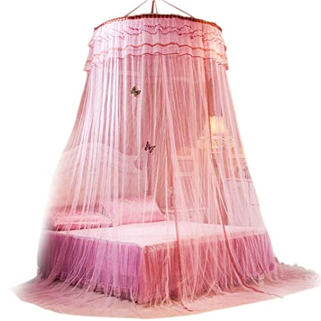 14bbcadfb3239 Aothpher オシャレ お姫様気分 モスキートネット 蚊帳 ポリエステル ピンク 高さ270cm 可愛い 綺麗 ヨーロッパ風