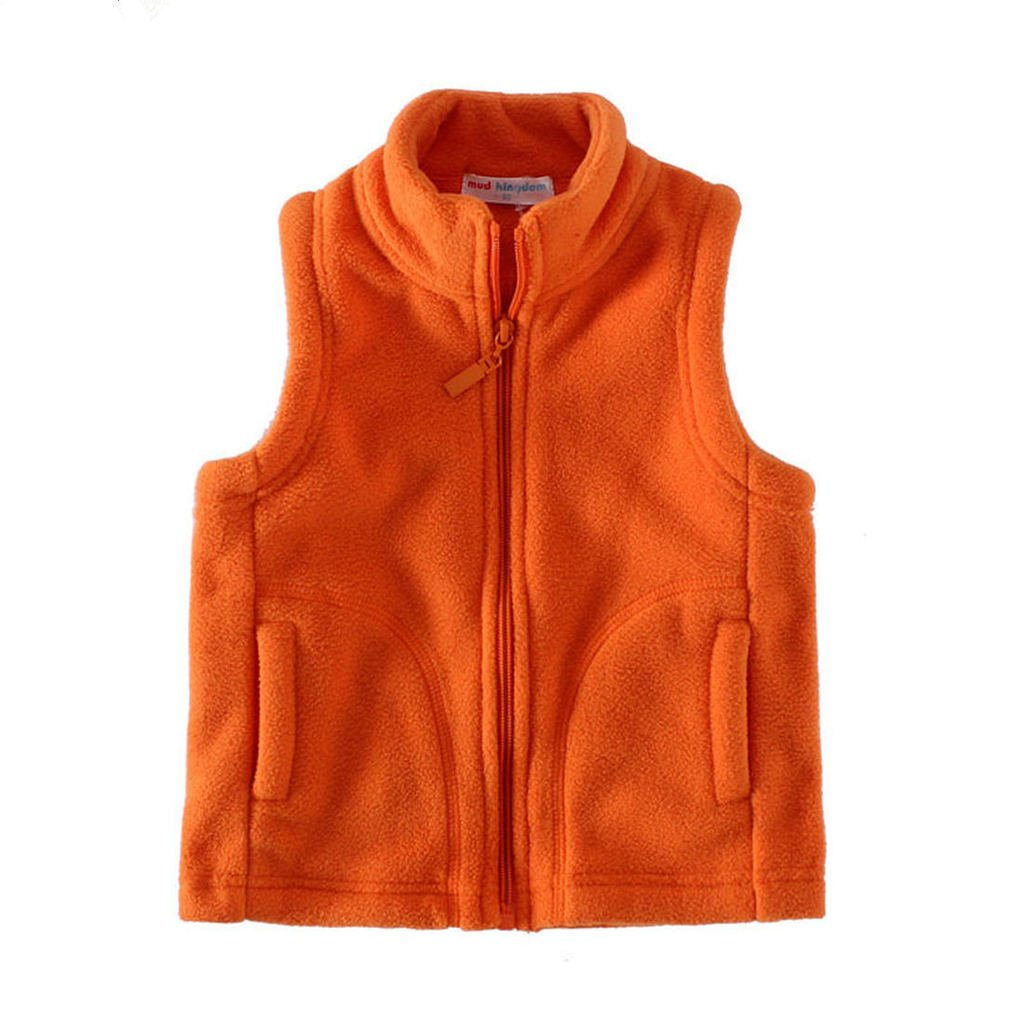 Mud Kingdom Boys Solid Color Vest Fleece for Winter 5T Orange