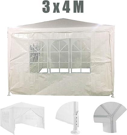 GJR-Zhengyangpeng Cenador de Carpa para Fiestas de 3x4 m con Paneles Laterales Blanco, Cubierta de PE Marco de Acero Revestido en Polvo Resistente al Agua para Eventos Camping Garden Festival: Amazon.es: Deportes