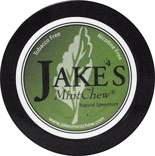 Jake's Mint Chew 1.2oz Can - Natural Spearmint Flavor - Nicotine/Tobacco Free (5) Five Cans