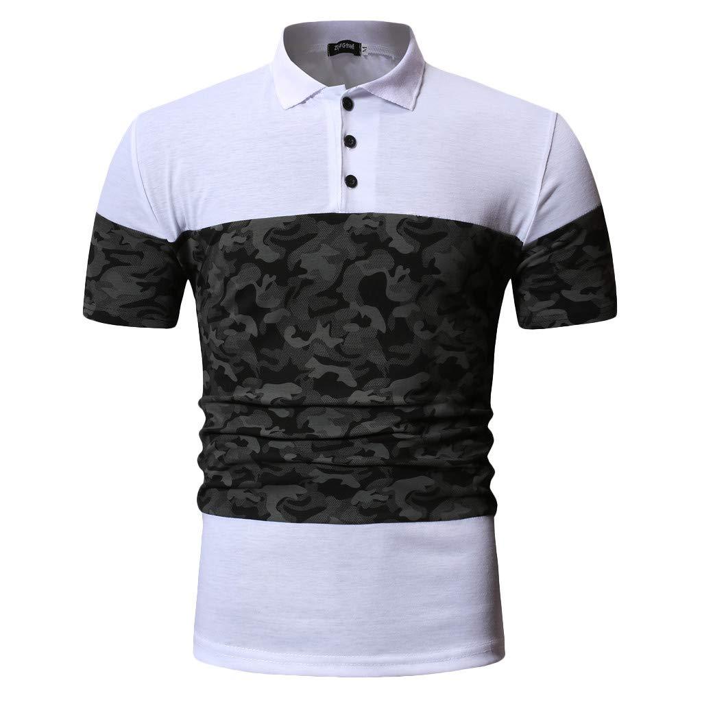 KINGOL Men Fashion Summer Camouflage Button Patchwork Short Sleeved T-Shirt Top Blouse