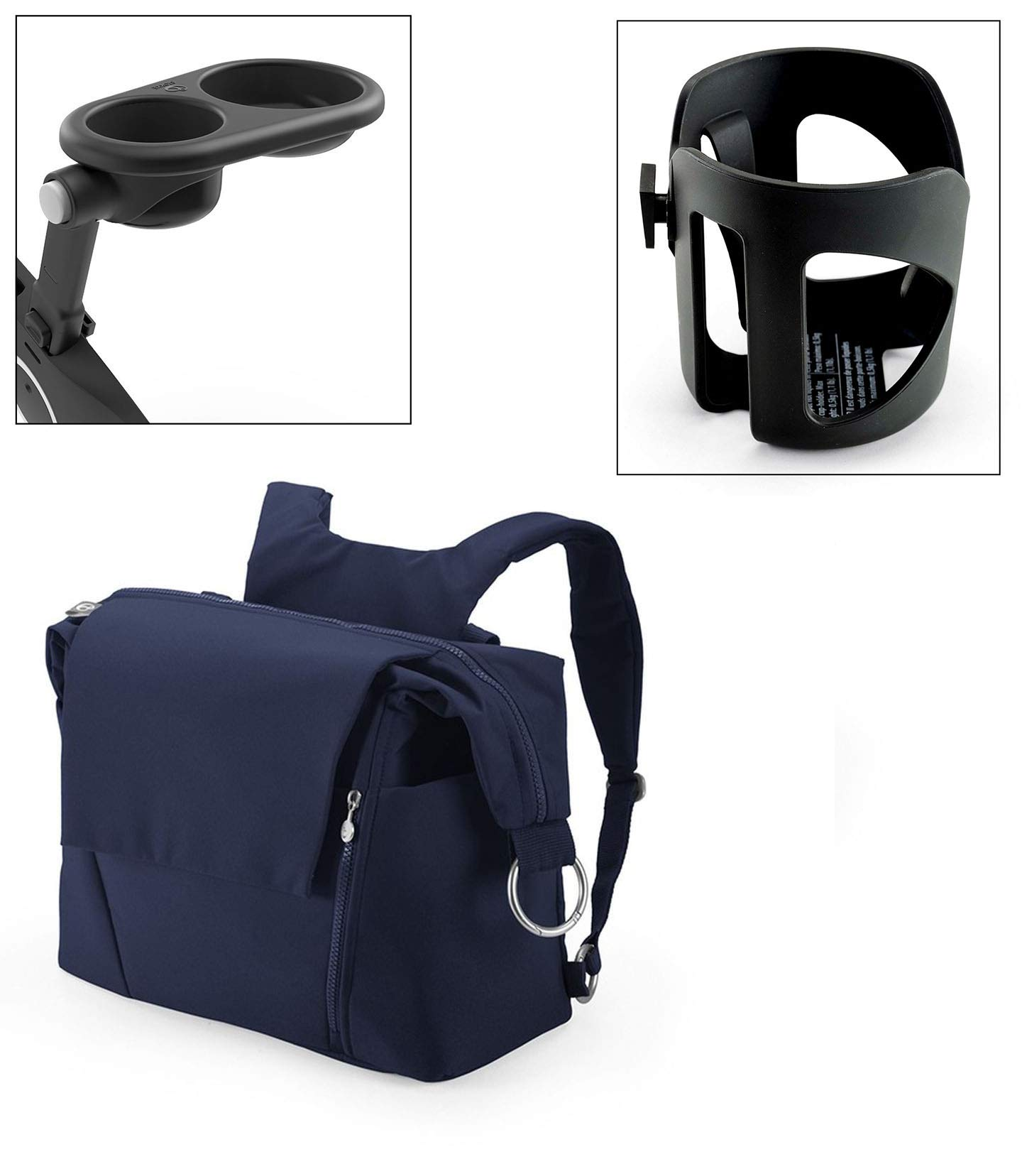Stokke Xplory Cup Holder, Snack Tray, and Deep Blue Changing Bag Bundle