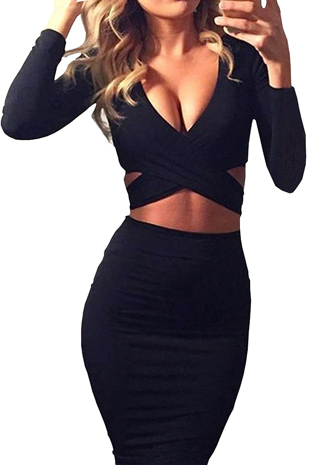 Yeesea Women's Party Clubwear Bodycon Bandage Long Sleeve Pretty Dresses