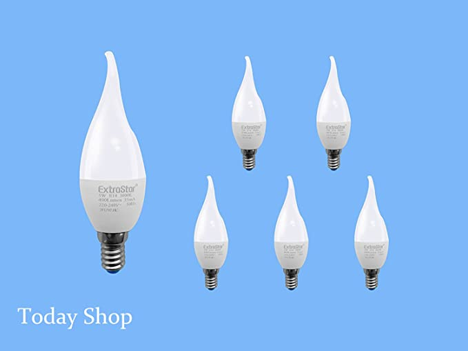 [6 Pack] Bombilla LED Vela Llama E14, 5 W A 40 W, luz