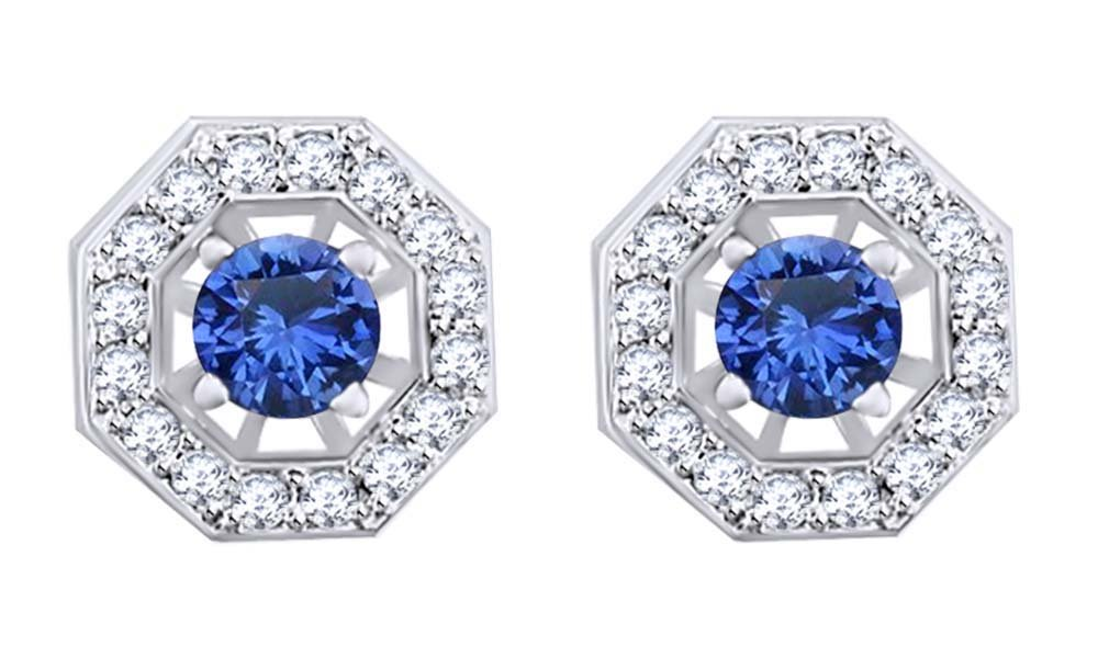 Simulated Blue Sapphire & White Natural Diamond Studs Earrings with Jackets in 14k Solid White Gold (1.55 Cttw) by AFFY