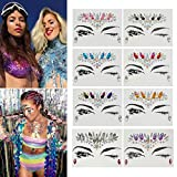 Vinmax Temporary Face Tattoos Eye Tattoo Face Jewel Stickers,4 Pack Festival Mermaid Rhinestones Rave Face Breast Jewel Tattoo & Chunky Glitter Colorful Mixed Paillette &Body Stickers (Collection 2)