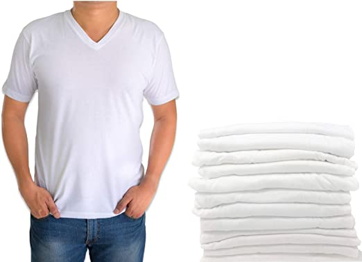 12 Pack ASM36X12 Classic Mens White Short Sleeve Undershirts V Neck T Shirt