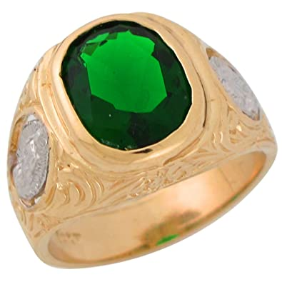 Amazon 10k Two tone Gold Simulated Emerald Mens Wide Virgin