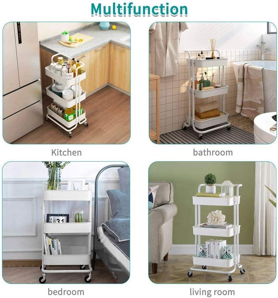 Storage Cart Kitchen Cart,Utility Cart,Rolling Cart,Bar Cart,Home Office Kitchen Furniture,3-Tier,42x35x87cm,White