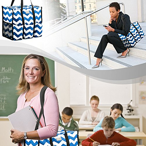 Pursetti Teacher Bag with Pockets - Perfect Gift for Teacher's Appreciation and Christmas (Large, Navy Chevron) by Pursetti (Image #4)