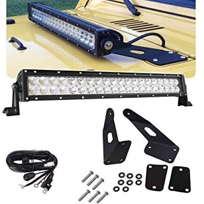 20'' 120W LED Straight Light Bar w/Wiring Kit & Upper Hood Hinge Front Windshield Mounting Brackets for Jeep 1997-2006 Wrangler TJ 4WD and 2004-2006 Wrangler Unlimited LJ 4WD: Automotive