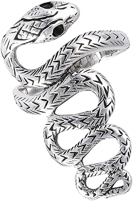 NEW Snake 925 Silver Plated Crystal Open Adjustable Ring Finger Reptile Jewelry