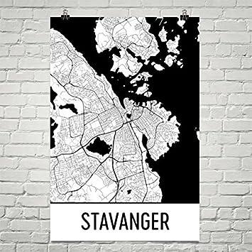 Karte Norwegen Drucken.Modern Map Art Stavanger Karte Stavanger Art Stavanger
