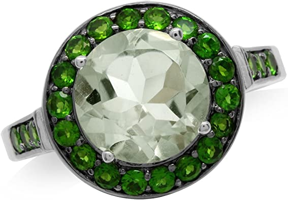 Petite Oval Prasiolite Green Amethyst Gemstone Gold Plated Sterling Silver Ring size 7