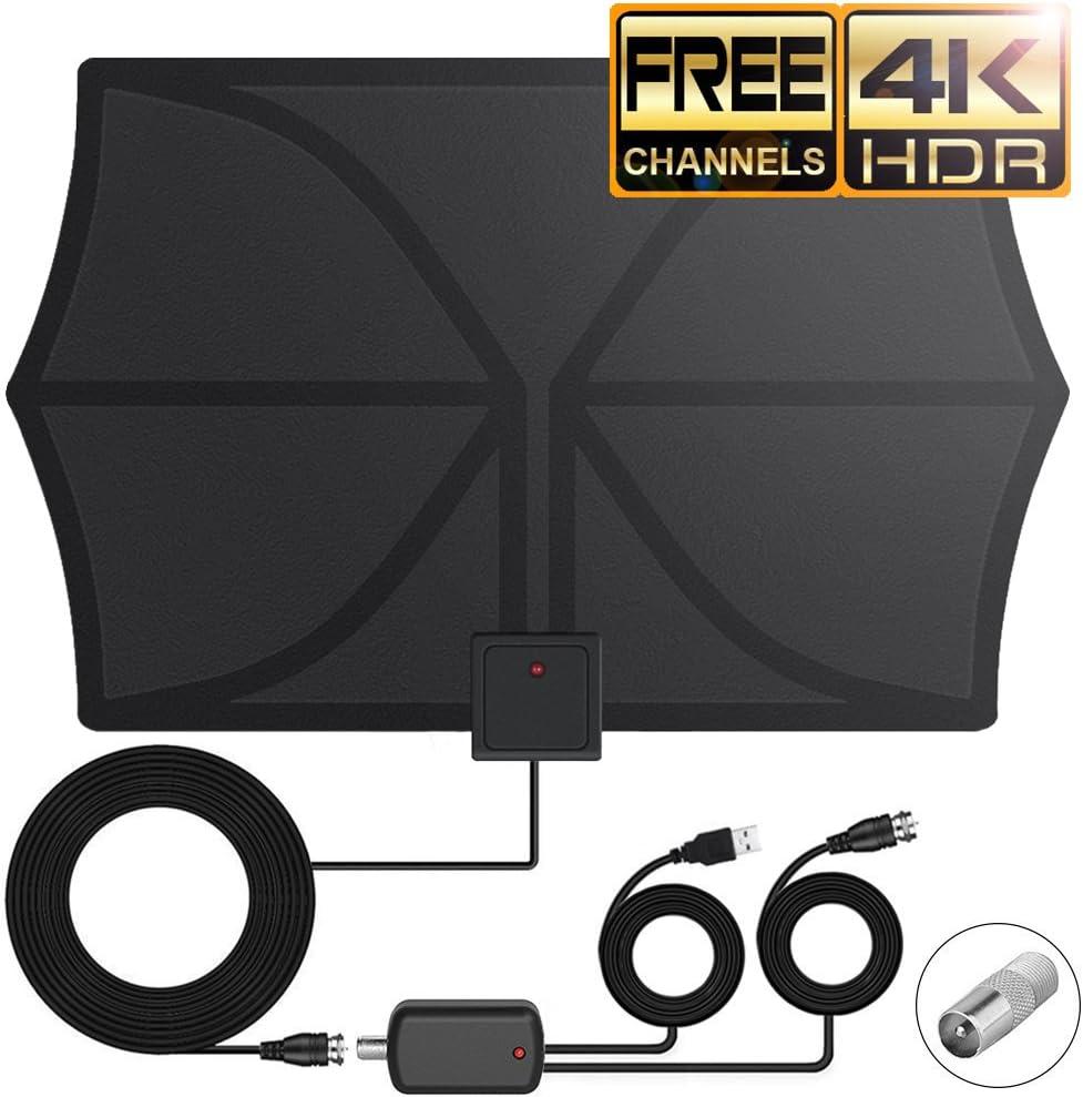 Antena de TV Interior DeFe 80KM Amplificador Antena Digital HDTV, TDT, DVB-T, Antena Television Portatil con Amplificador de Señal Desmontable y 4M ...