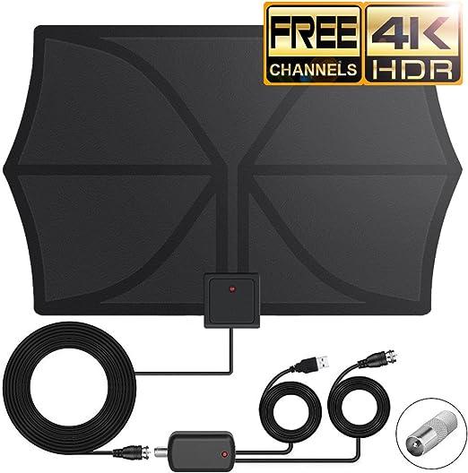 Antena de TV Interior DeFe 80KM Amplificador Antena Digital HDTV ...