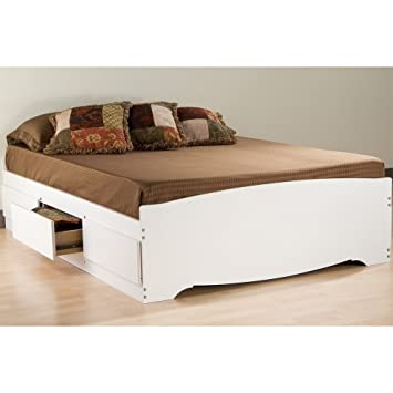 storage platform bed in white finish full