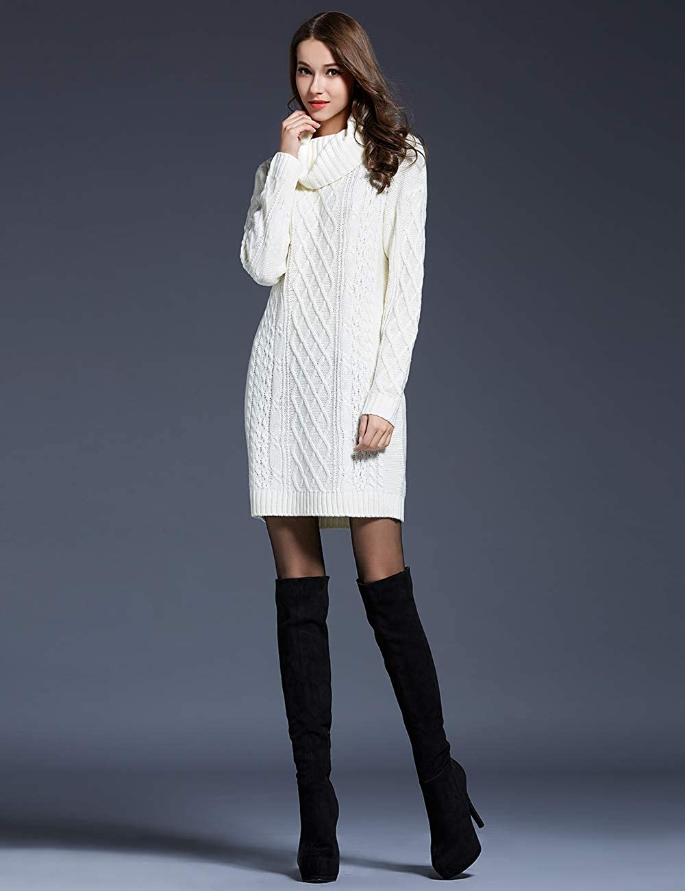Women Turtleneck Cable Knit Long Sleeve Loose Solid Color Fashion Warm Sweater Pullover Tops White L