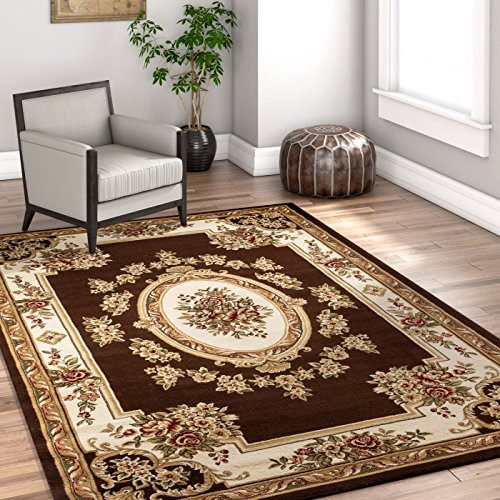 "Pastoral Medallion Brown French 8 x 10 (7'10"" x 10'6″) Area Rug European ..."