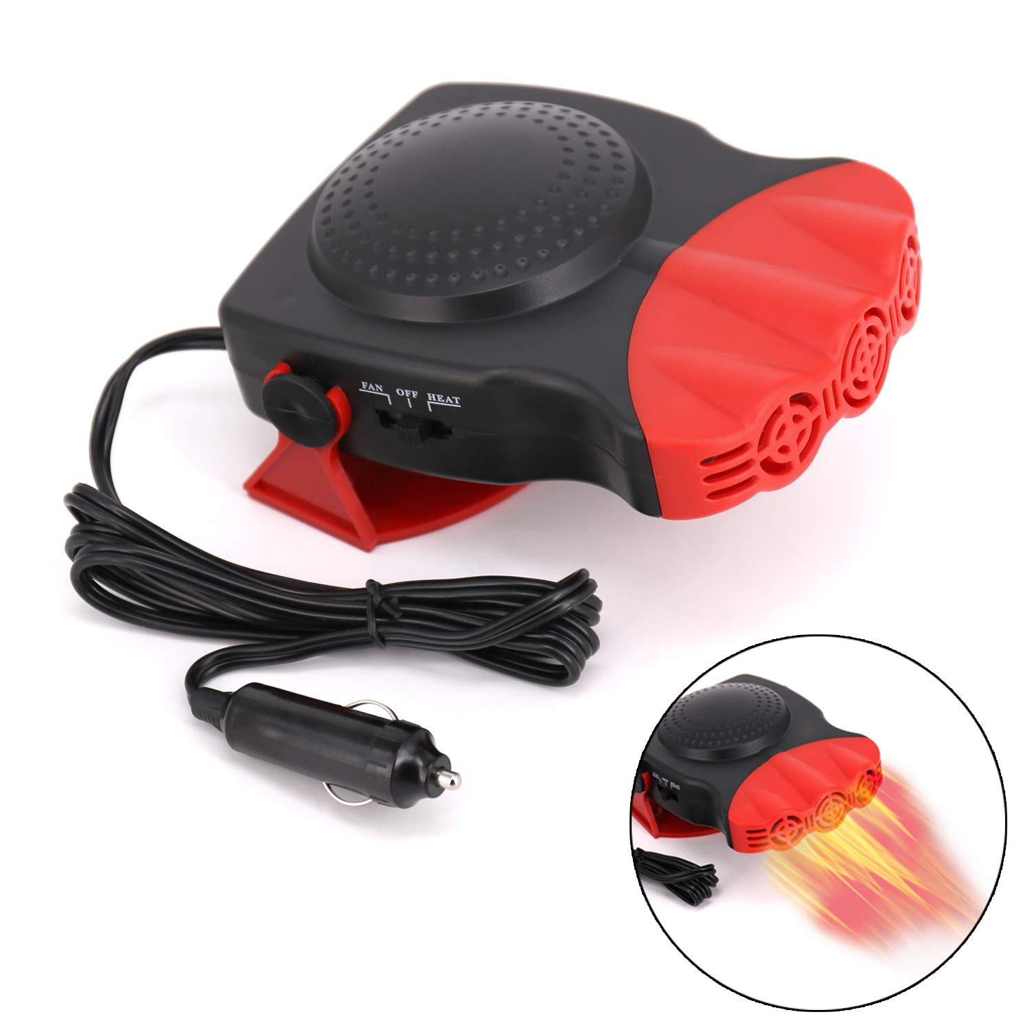 Upgrade Car Heater, 2 in 1 Portable Fast Heating Car Heater with Heating & Cooling Function Defroster Defogger 12V 150W, 3-Outlet Plug Adjustable Thermostat in Cigarette Lighter by drtulz